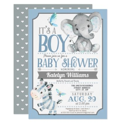 Boy Elephant and Zebra Baby Shower Invitation - invitations personalize custom special event invitation idea style party card cards