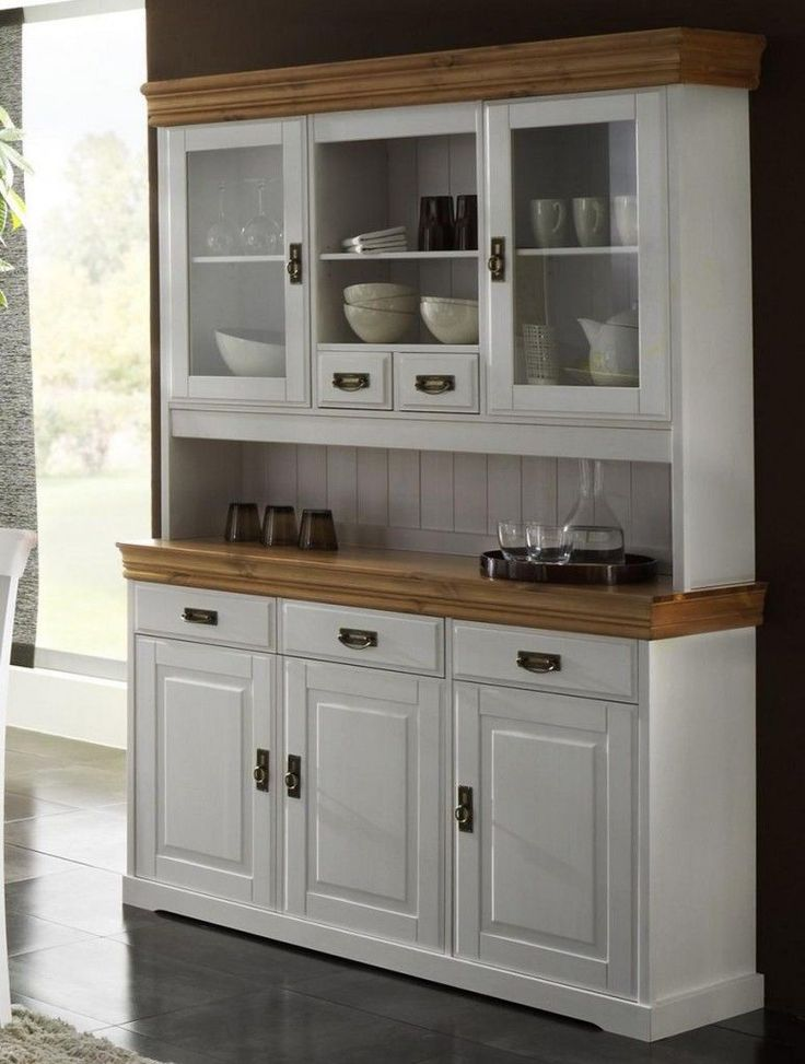 massivholz buffetschrank buffet k chenbuffet landhaus kiefer massiv wei honig in m bel wohnen. Black Bedroom Furniture Sets. Home Design Ideas