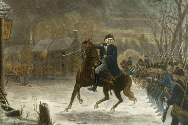 (07) Tijd van Pruiken en Revoluties, 1700-1800 --- 3). De democratische revoluties in westerse landen met als gevolg discussies over – grondwetten, grondrechten en staatsburgerschap Beeld: George Washington leidt de Amerikaanse revolutie, 1776