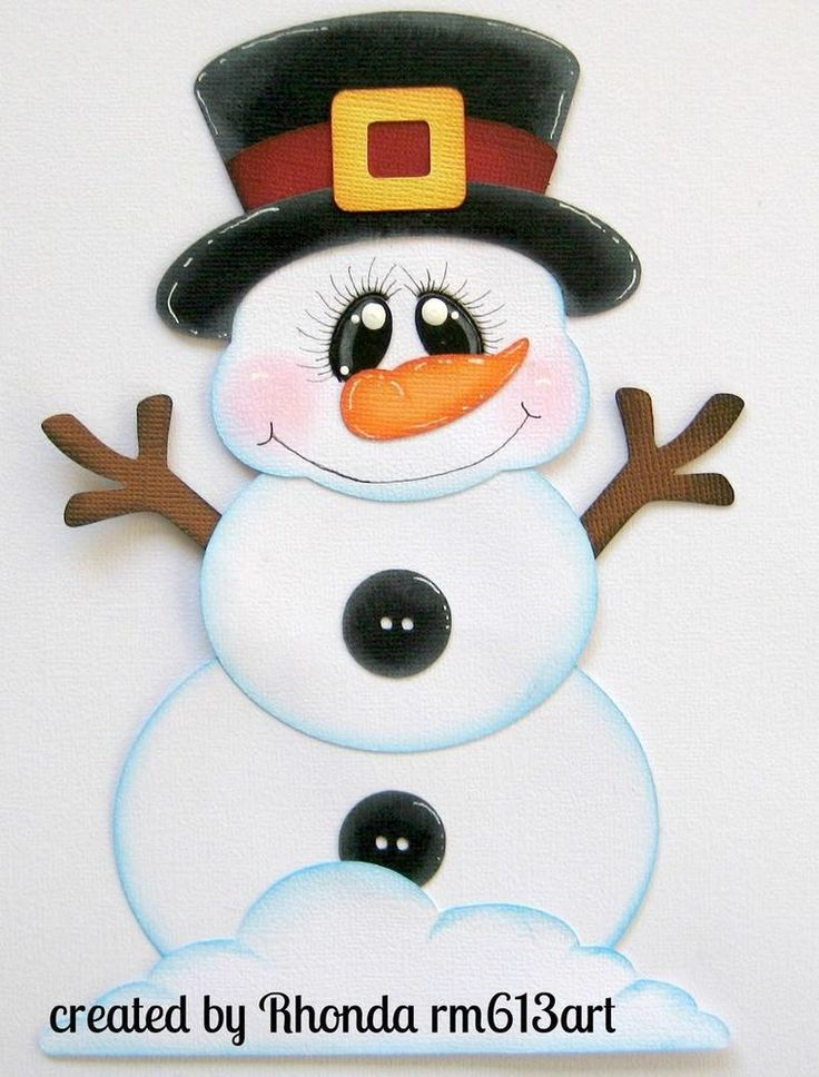 Winter Snowman  paper piecing single  for premade scrapbook page Rhonda rm613art