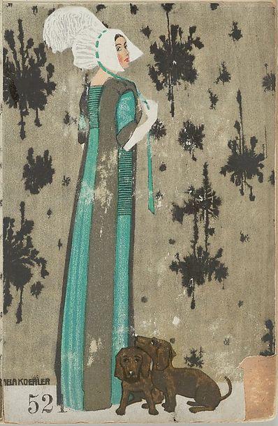 By Mela Koehler (1885-1960), 1911, Mode 52, Woman with Dogs, #FashionIllustration on #Postcard, Published by Wiener Werkstätte, Vienna. #WienerWerkstatte