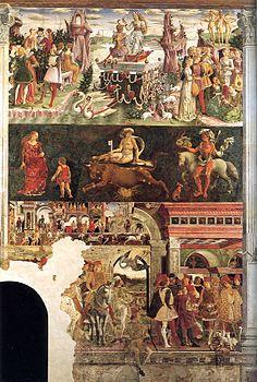 Francesco Del Cossa , Mese di Aprile ,1468-70 ,affresco  500×320cm, parete est Sala dei Mesi, Palazzo Schifanoia , Ferrara .  Fascia superiore :  Trionfo di Venere che avanza su di un carro trainato da due cigni . Fascia centrale : segno zodiacale del Toro con i suoi 3 Decani . Fascia inferiore : il Palio di San Giorgio , il ritorno del duca da una battuta di caccia ,  il duca offre  una moneta al giullare Scoccola.