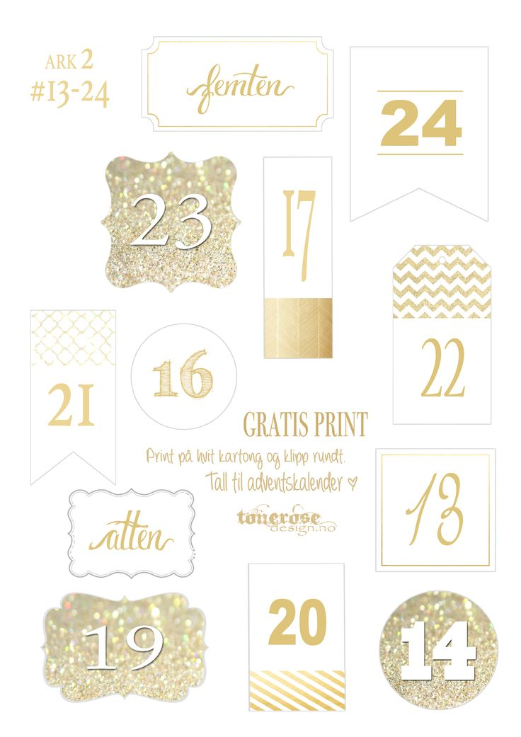 Tall 13-24 til adventskalender julekalender tonerosedesign