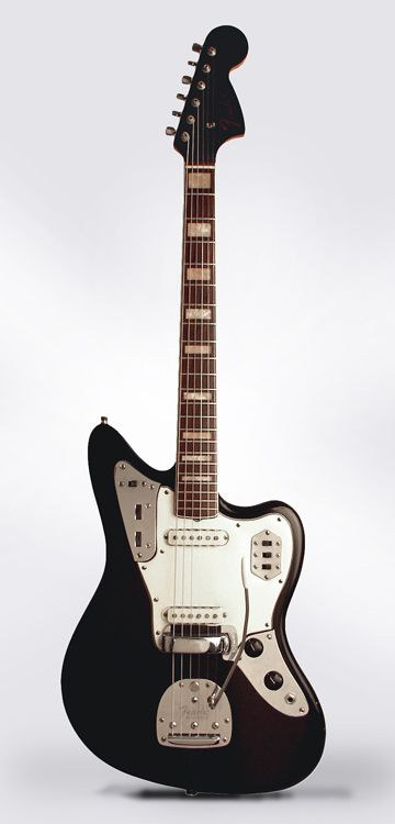 1969 Fender Black Jaguar (Panther.) w/ painted headstock and block inlays. no silver brand label.