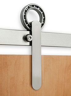 Tubular Sliding Door Hardware - probably only works smoothly if the join is on a curve equal to the ball bearing circle [ between upright oblong]