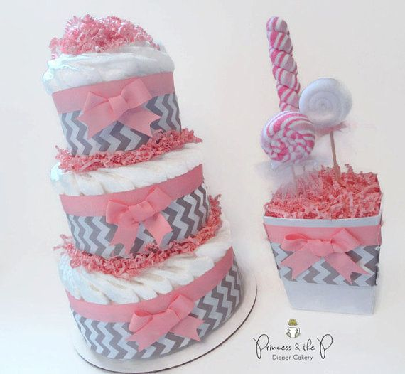 Gray Chevron Diaper Cake your choice of by PrincessAndThePbaby