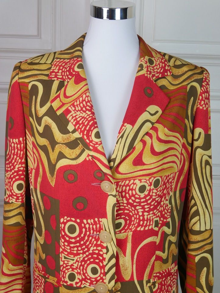 French Vintage Blazer Women's, Red Tan Women's Blazer, European Vintage Blazer, Abstract Pattern Pauline Blazer: Size 10 (US), Size 14 (UK) by YouLookAmazing on Etsy