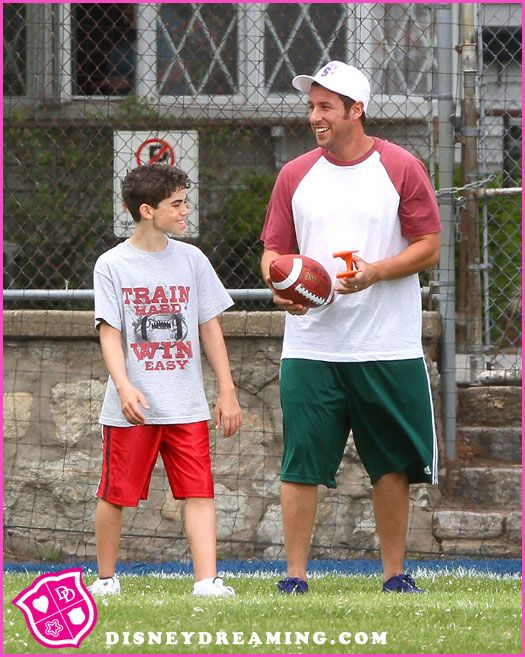 """Jessie"" star Cameron Boyce on the set of ""Grown Ups 2"" with Adam Sandler."