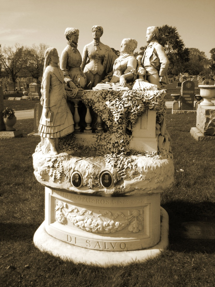 "Mount Carmel Cemetery, Hillside IL ~ The gravesite of Angelo (1869-1932) & Rosa (1872-1927) Di Salvo. ""Larosa""  ""Florence 1891"" are also on the base of the sculpture.  Some believe this could be the name of the sculptor & where & when the piece was made. The sculpture can be rotated (quite easily) 360 degrees on it's base, & it does get rotated quite often.  #cemetery #monument #grave_stone #headstone #sculpture"