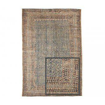 Handgeweven wol-jute tapijt met print - deens.nl