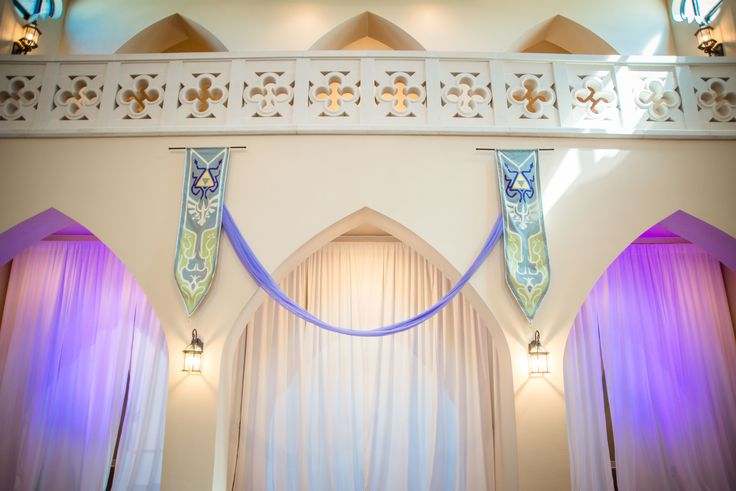 Closeup of our Legend of Zelda: Twilight Princess-inspired banners. Our vows took place between these arches.