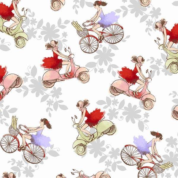 Windham - Ciao Bella White Vespas & Bikes - cotton fabric