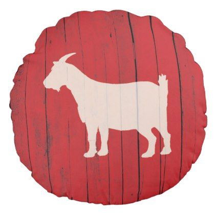 Rustic Farmhouse Goat Red Barn Wood Panel Round Pillow - diy individual customized design unique ideas