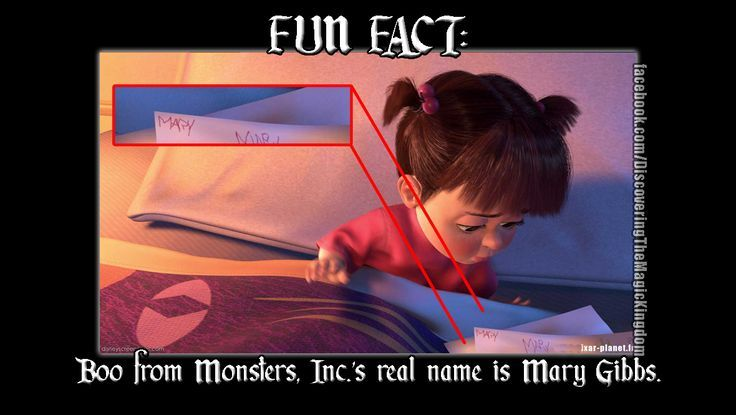 FUN FACT: Monsters Inc: Boo from Monsters, Inc. ' s real name is Mary Gibbs. Description from pinterest.com. I searched for this on bing.com/images