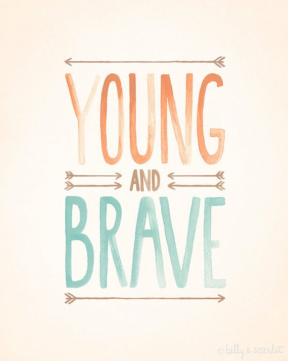 """Young and Brave 8""""x10"""" brave print, Tribal Nursery Art featuring bravery quote, kids wall art, mint and orange theme"""