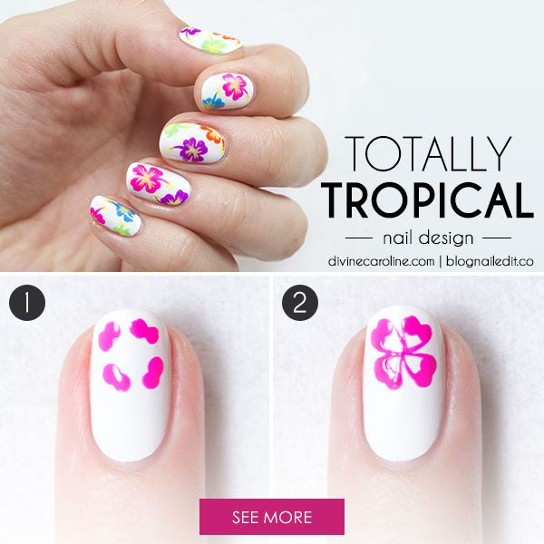Follow our simple steps to re-create this tropocal nail art look yourself! #divinecaroline #nailart