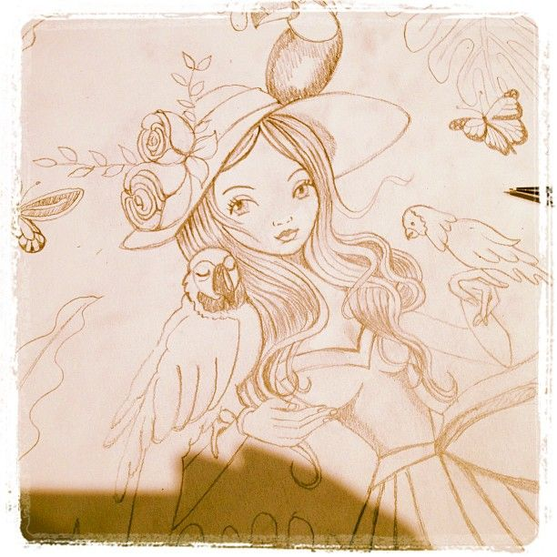 © Cartita Design #illustration #workinprogress #drawing #girl #birds