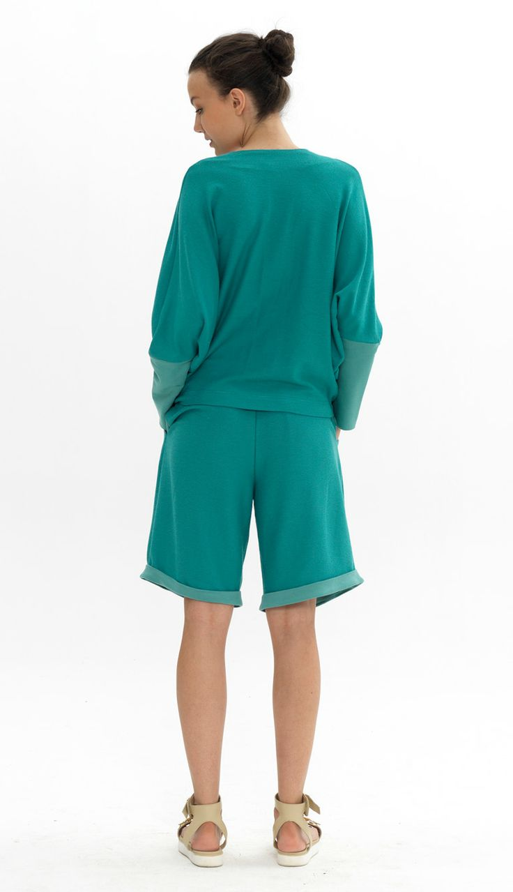 reverse batwing jacket reverse wide leg culottes