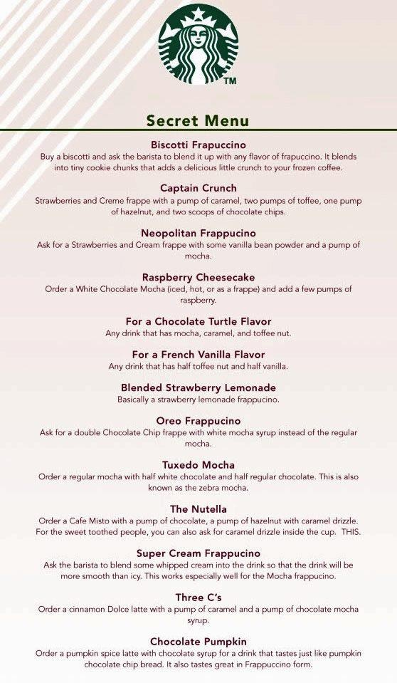 Secret Starbucks Menu!  Why can't this have 0 calorie, 0 sugar, 0 carb yumminess on it??? Ugh!!!
