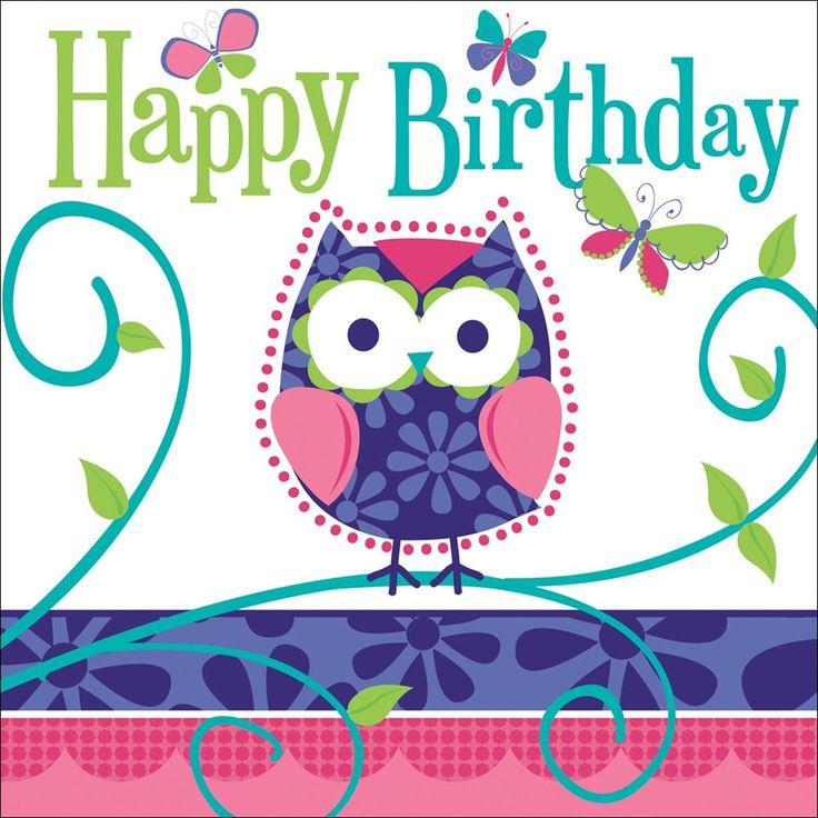 3 Ply Lunch Napkins Happy Birthday Owl Pal Birthday/Case of 192