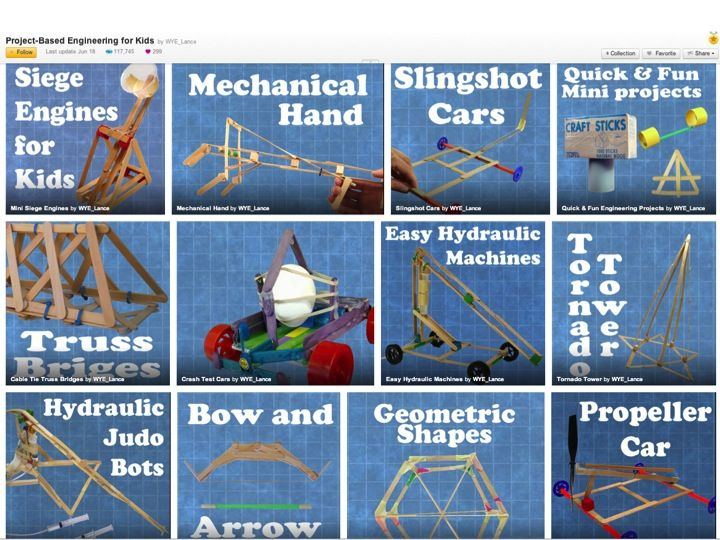 http://www.instructables.com/id/Project-Based-Engineering-for-Kids/ PROJECT-BASED ENGINEERING lessons for kids focussed on basic principles of physics, structural, and mechanical engineering.
