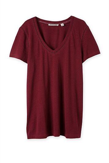 Broderie Bind Linen T-Shirt