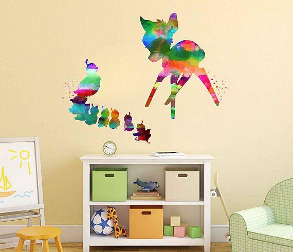 kcik2109 Full Color Wall decal Watercolor Bambi Character