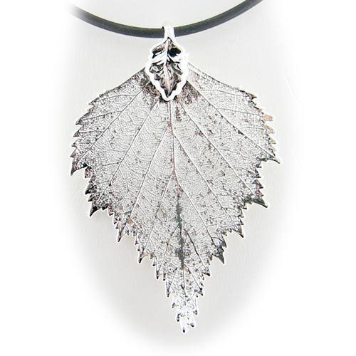 Silver Plated Birch Real Leaf Pendant Rubber Cord Necklace 16 Inch Pendants by Joyful Creations. $17.99. Ready to wear, rubber cord necklace included. Real birch tree leaf. Save 58%!