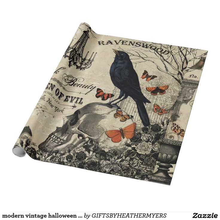 modern vintage halloween crow and skull