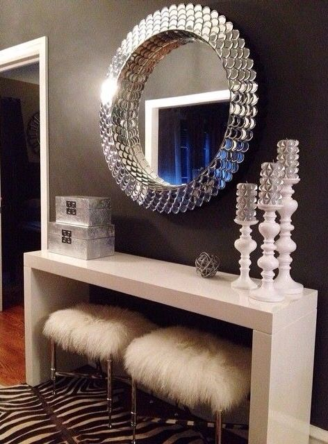 Lovely vanity with faux fur chairs ~ #interiors,#homedecor, #vanity