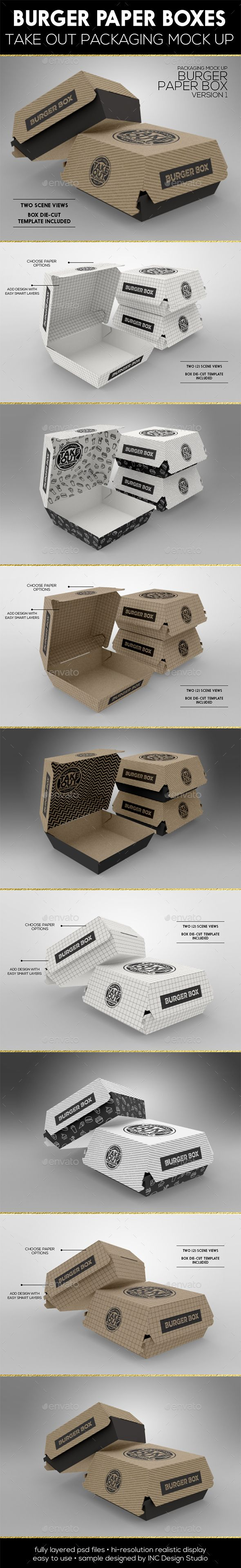 Burger Box Packaging #Mock Up - Food and Drink #Packaging Download here: https://graphicriver.net/item/burger-box-packaging-mock-up/19575562?ref=alena994
