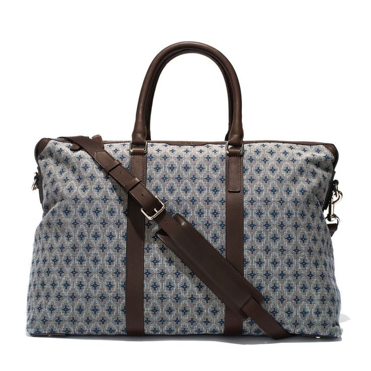 Weekend Holdall - Woven Patterned Canvas & Dark Brown Leather