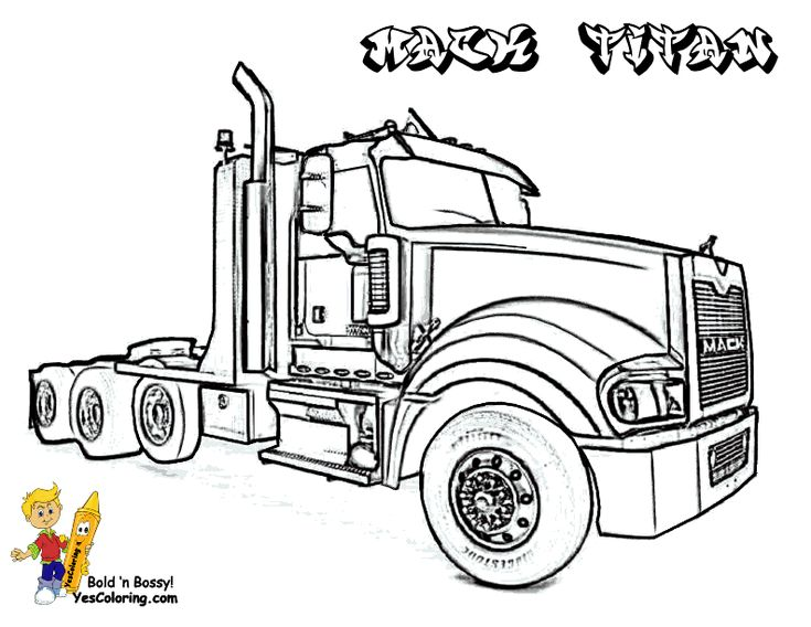 Mack Titan Trucks Coloring Picture. You Can Print Out This