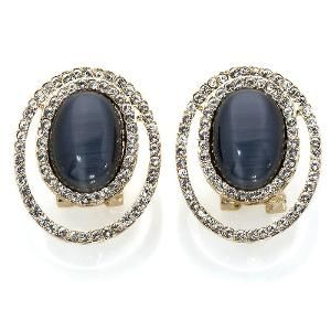 Roberto Faraone Mennella Knightsbridge Black Simulated Cat's Eye Stone Goldtone Button Earrings | Find.com