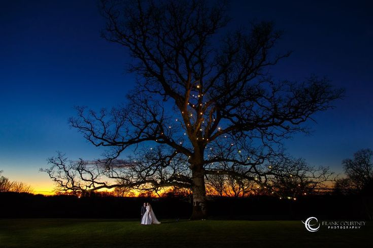 Bride & Groom with a tree at twilight - with an interesting sky for a background