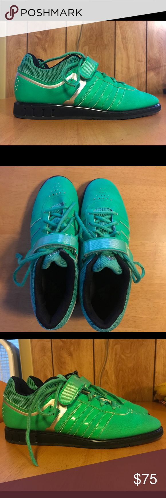 Adidas Powerlift 2.0 lifting shoes Worn for almost daily training sessions for approximately 6 months. Excellent preworn condition. Never worn outside of the gym, so the soles are nearly new. The best photo representing the color of the shoes is the third photo. They are bright green. They're a Men's size 8 but fit Women's size 9.5/10 just fine. They are excellent for beginner lifters, however, I watched a girl squat 420# in a pair of these shoes, so they're legit enough for experienced…