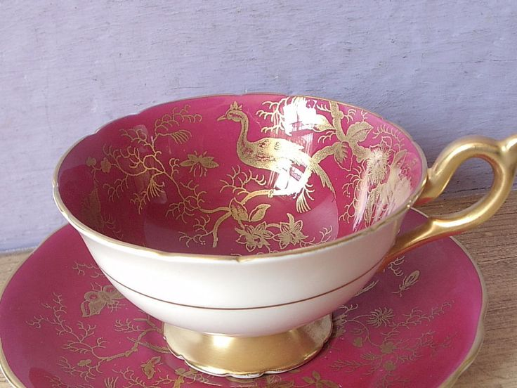 Vintage 1950's England Red and Gold Bone china bird tea cup teacup and saucer #midcentury #Coalport
