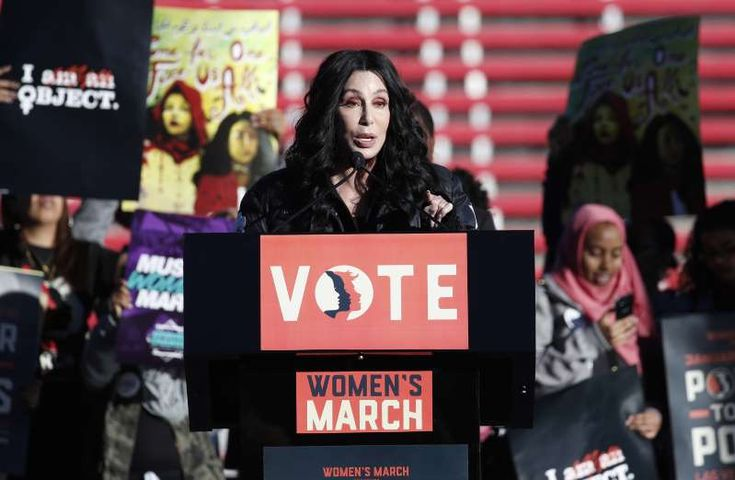Women's March around the world and across the US - January 21, 2018.  Cher speaks during a Women's March on Jan. 21 in Las Vegas. Thousands of people poured into a football stadium in Las Vegas on Sunday, the anniversary of women's marches around the world, to cap off a weekend of global demonstrations that promised to continue building momentum for equality, justice and an end to sexual harassment.