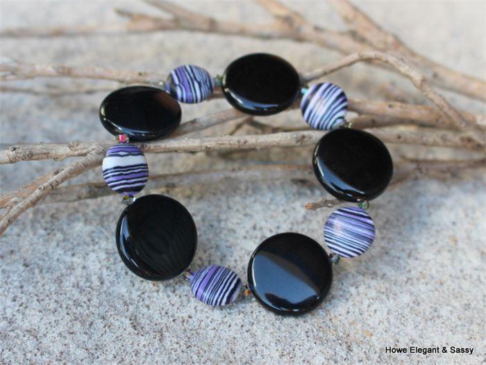Black Agate, Purple Black White resin coins, Swarovski crystal, stretch bracelet