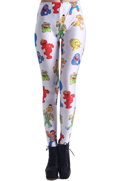 Sesame Street Characters Print Leggings. Description These Leggings have been crafted from elastic fabric design, featuring Sesame Street characters design, elastic waist and all in soft-touch fabric. Fabric Dacron and Spandex. Washing 40 degree machine wash , low iron. #Romwe