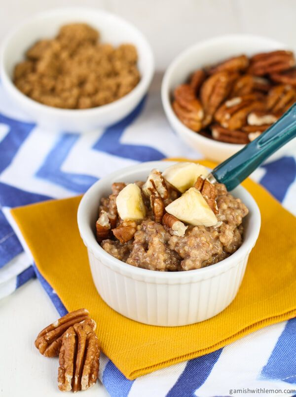 This overnight Crock Pot Banana Bread Oatmeal combines the flavor of banana bread with heart healthy oatmeal.