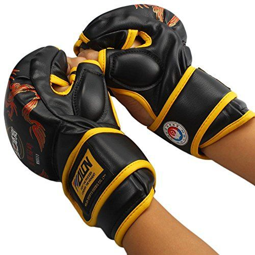 1 Pairs New Grappling MMA Sanda Gloves UFC Boxing Fight PU Leather Gloves Pick -- See this great product.