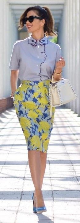 Blue Unusual Shape Shirt + Floral Pencil Skirt                                                                             Source