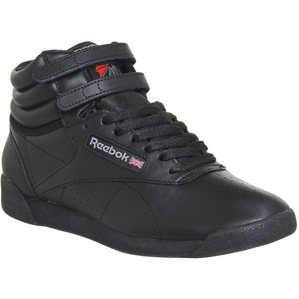 black reebok high top trainers