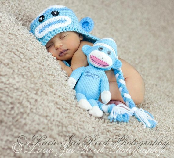 Crochet Sock Monkey Hat and Doll Set  Crochet Sock by JemsBoutique, $32.99