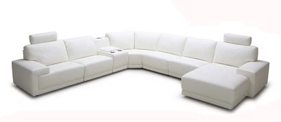 Vig Furniture Divani Casa Cypress Modern White Leather Sectional Sofa with Headrests and Beverage Console