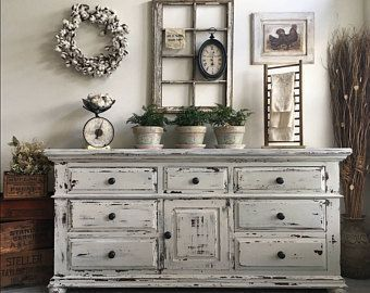 Large Farmhouse 9 Drawer Dresser or Buffet made by Broyhill ~ Chippy White Distressed Furniture ~ Shabby Chic ~ Cottage ~ French Country #shabbychickitchencabinets #shabbychicdressersgrey #shabbychicfurniturefrench