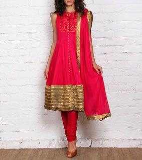 Fuchsia Cotton Anarkali Suit