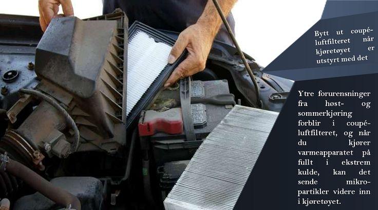 Coupé-filter  På grunn av at dette kun har finnes i kjøretøy det siste tiåret, så må coupé-filteret byttes regelmessig. Dette har en nøkkelrolle for den rene luften i kjøretøyet ditt, spesielt om vinteren når luftfuktigheten varierer mye. #piggfriedekk