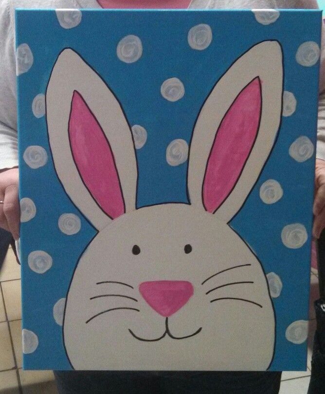 Easter bunny canvas painting